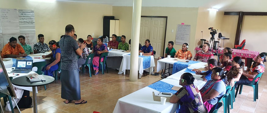 Business Essentials - Participants from around Savaii during training at the Savaiian Hotel.